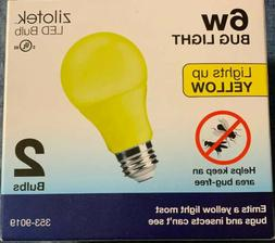 NEW 2-pack Yellow LED Bug Light Bulb 7 watt  A19 Indoor/Outd