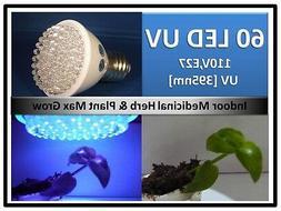New 395Nm Herb Plant UV Max Grow 60LED  Light Bulb 110V E27