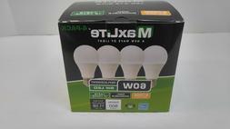 NEW QTY 4 LED Light Bulb MAXLITE 60W Equivalent SOFT WHITE 2