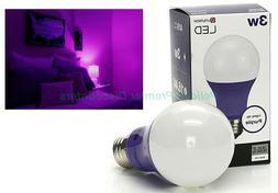 Purple LED Light Bulb A19 Indoor Interior Standard Base 40-W