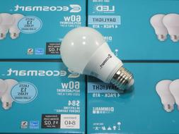 Qty 4 EcoSmart 60W Daylight A19 Energy Star Dimmable LED Lig