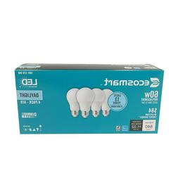 Qty 4 EcoSmart 60W Daylight Energy Star Dimmable A19 LED Lig
