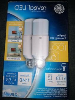 GE LED 100W Reveal LED Bright Stik 2pk