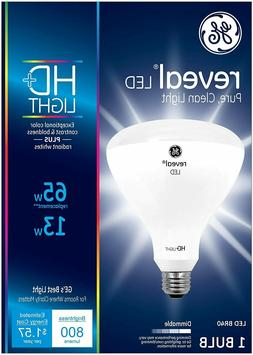 GE Reveal HD+ Dimmable BR40 LED Light Bulb, 800 Lumens, 13W