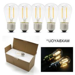 AC220V DC12V S14 E27 2W=20W LED Edison Filament Globe Bulb L