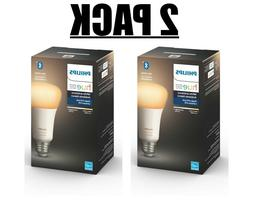 2 PACK Philips Hue White Ambiance A19 Led Smart Bulb, Blueto