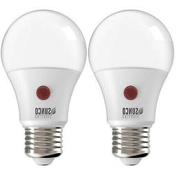 Sunco 2 PACK A19 LED Light Bulb Dusk-to-Dawn Auto On/Off 9W