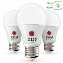 Sunco 3 PACK A19 LED Light Bulb Dusk-to-Dawn Auto On/Off 9W
