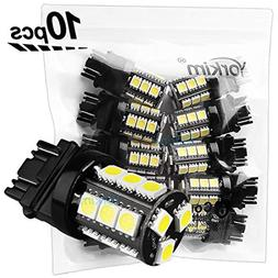 Yorkim Super Bright 3157 LED Light Bulbs White Pack of 10, 3