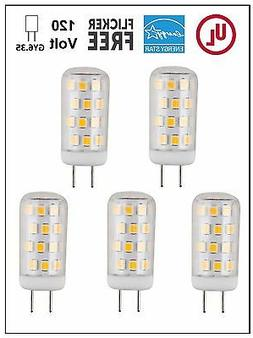 CBConcept UL-Listed 120V JCD GY6.35 LED Bulb,5-Pack,3W,Dimma