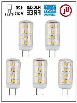 CBConcept UL-Listed 120V JCD GY6.35 LED Bulb,5-Pack,3W,Dimma