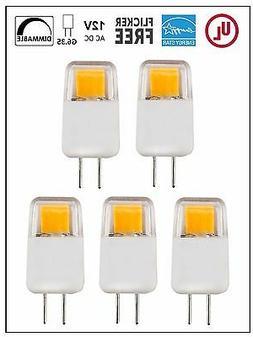 CBConcept UL-Listed 12V G6.35 LED Bulb, 5-Pack, 1.7W, Dimmab