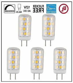 CBConcept UL-Listed 12V G6.35 LED Light Bulb,5-Pack,3W,Dimma
