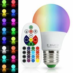 USA 4Pcs 3W E27 LED RGB Light Bulb 16 Color Changing Magic L