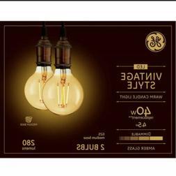 GE - Vintage 280-Lumen, 4.5W Dimmable G25 LED Light Bulb, 40