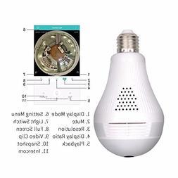 Wifi Hidden Camera LED Bulb Light 360-Degree Fisheye Panoram