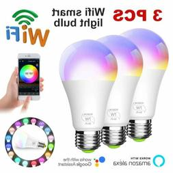 Wifi Smart LED Light Bulb RGB Dimmable App Control for Amazo